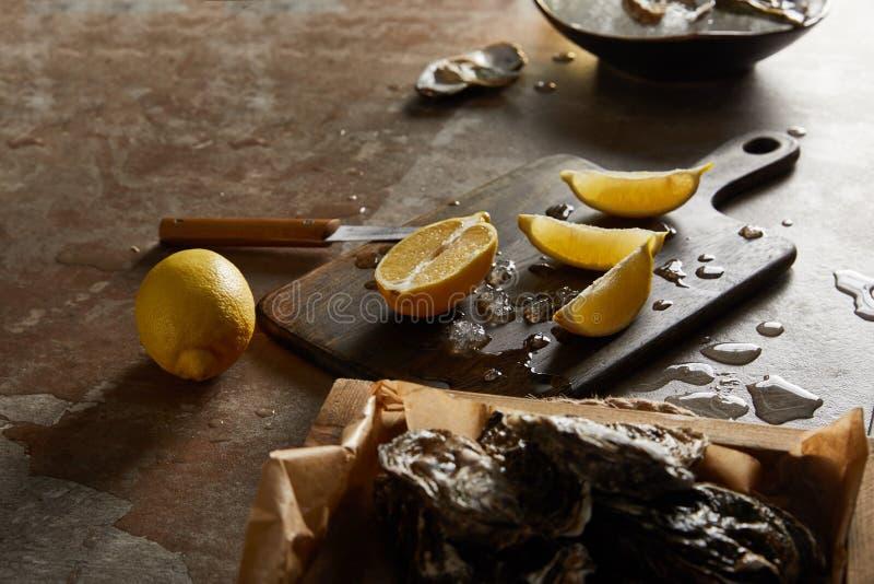 Concentration d'huîtres en coquille près images libres de droits