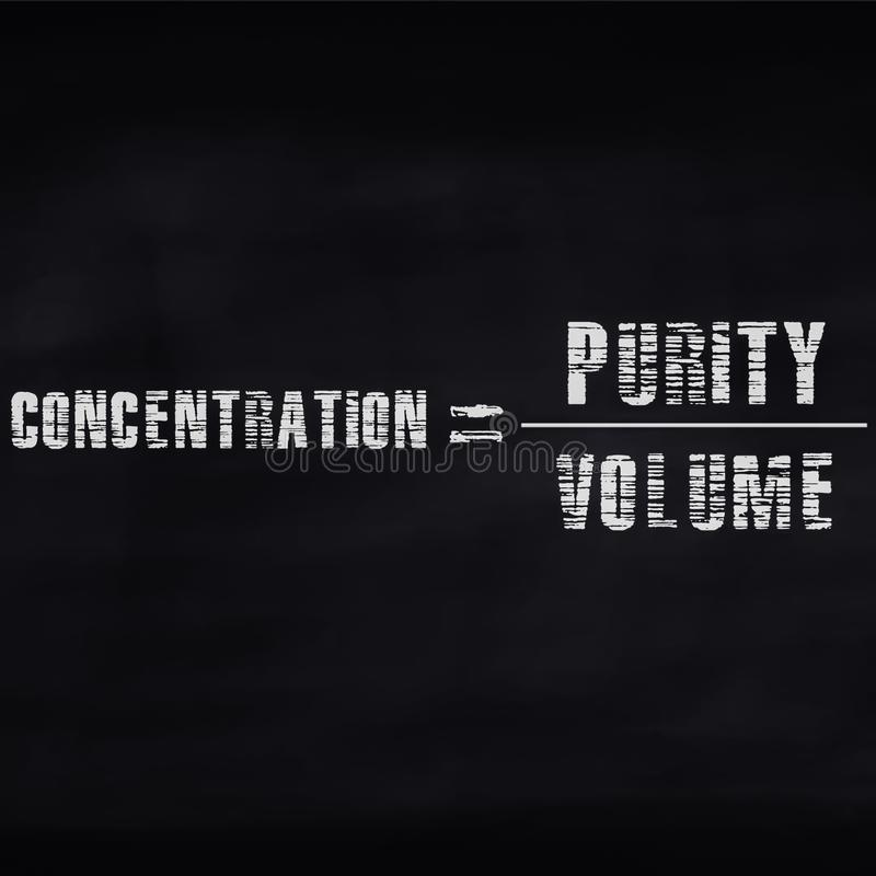 concentration equal to purity upon volume mathematical equation displayed on dark abstract background stock images