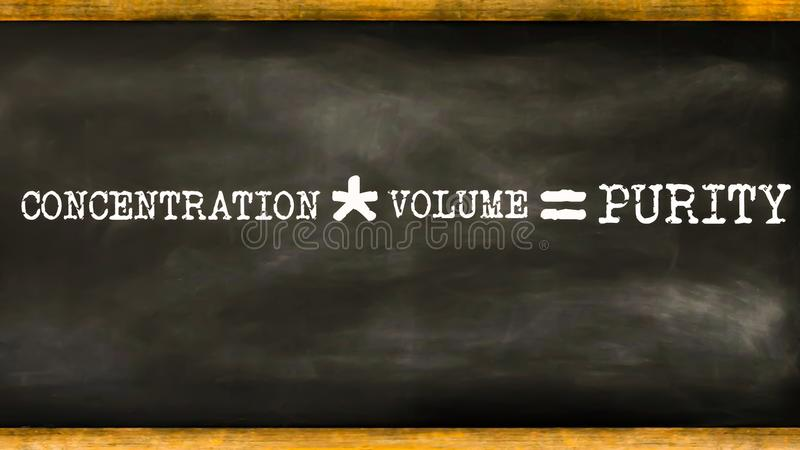 concentration multiply by volume mathematical equation displayed on chalkboard concept stock illustration