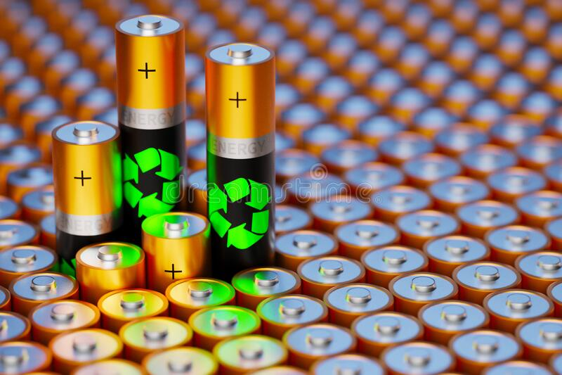 Concentration of renewable energy. Recycling old batteries. Safe energy. Ban nuclear power plants. 3d render royalty free stock photography