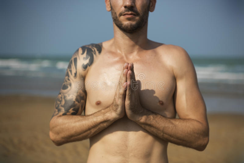 Concentration Serene Relaxation Concept paisible de méditation de yoga photos libres de droits