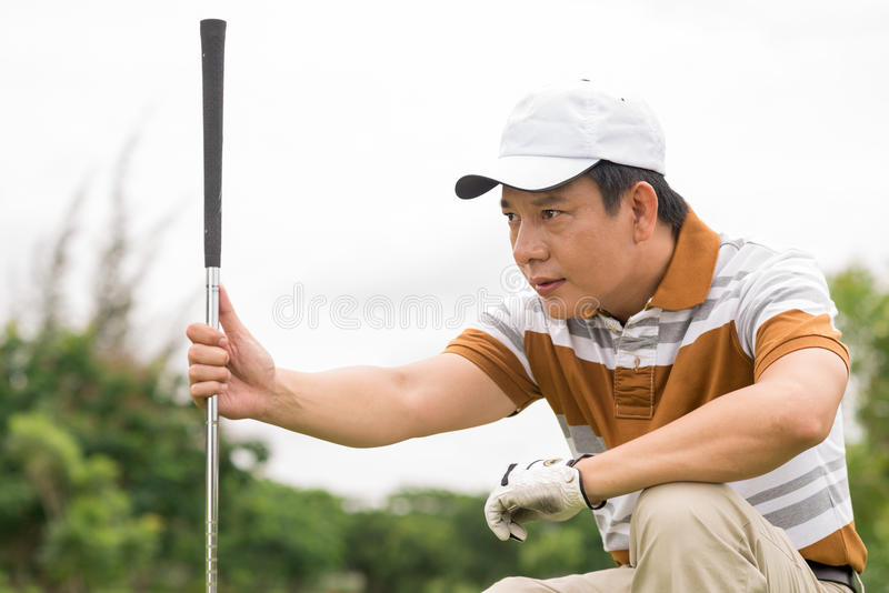 Concentration sur le golf photo stock