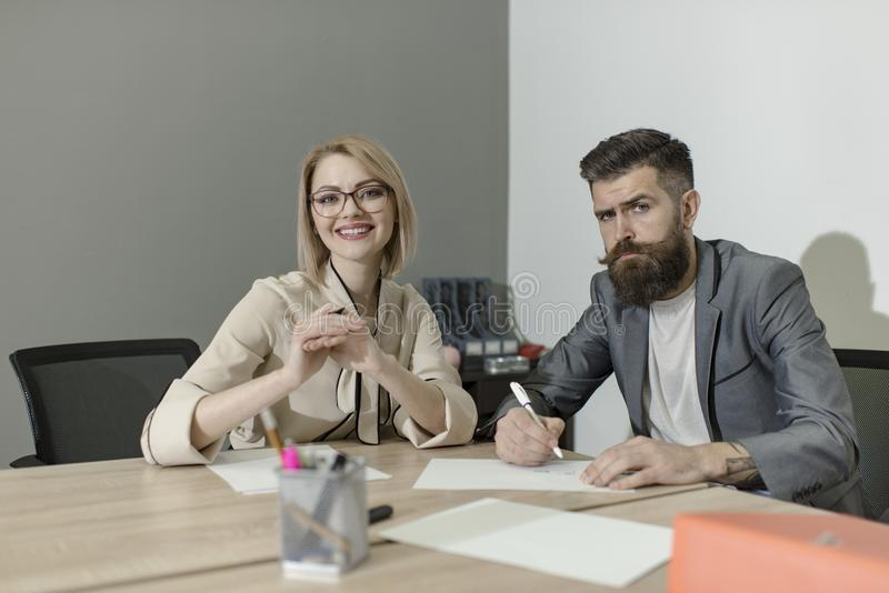 Concentration at work, business woman and man have business meeting at office desk. Concentration at work concept royalty free stock photos