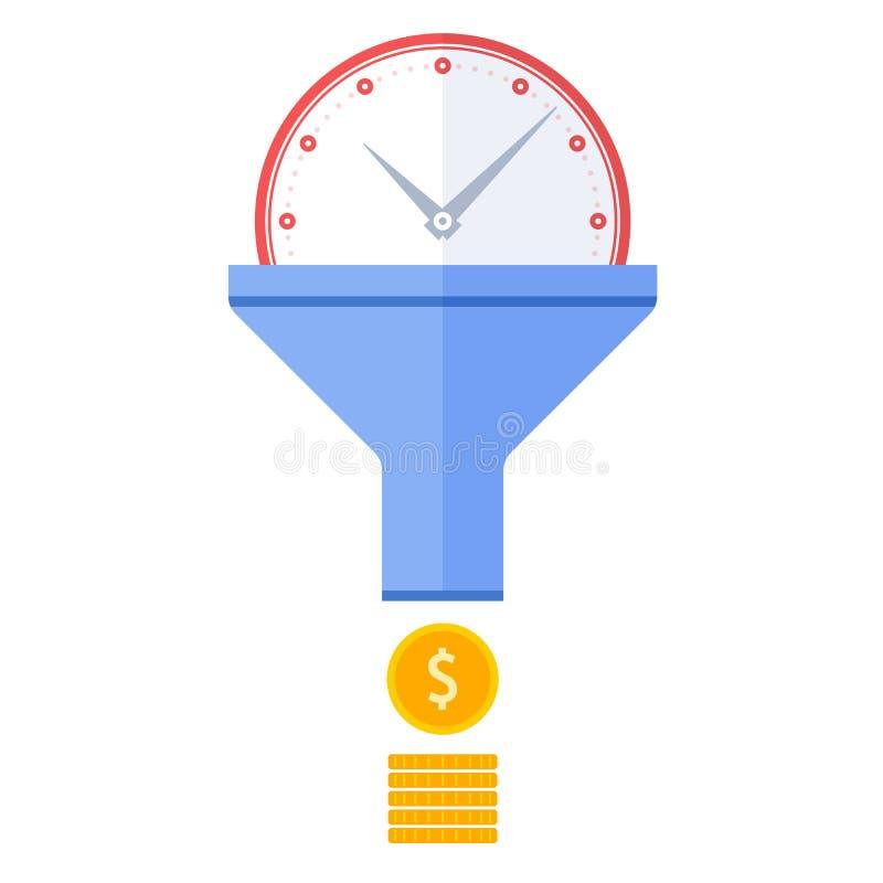 Concentre el vector IL plano del concepto de la gestión del flujo y de tiempo eficaz ilustración del vector