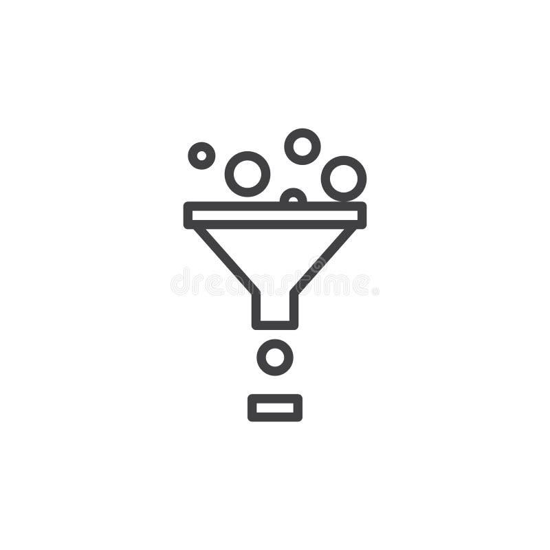 Concentre la línea icono, muestra del vector del esquema, pictograma linear del estilo aislado en blanco ilustración del vector