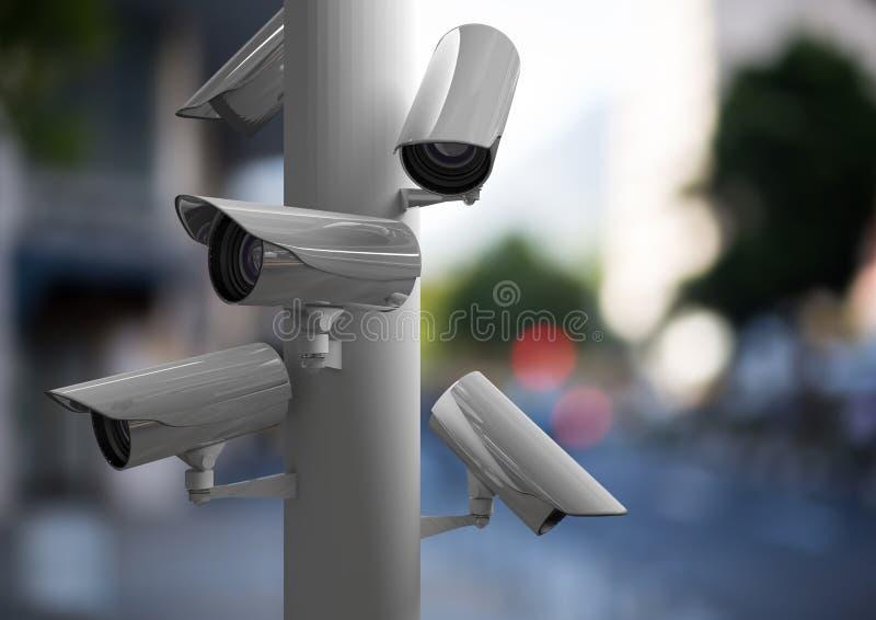 Concentrez sur le groupe de télévision en circuit fermé dans une rue brouillée photo libre de droits