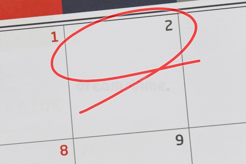 Concentrez sur le numéro 2 dans le calendrier et videz l'ellipse rouge image libre de droits