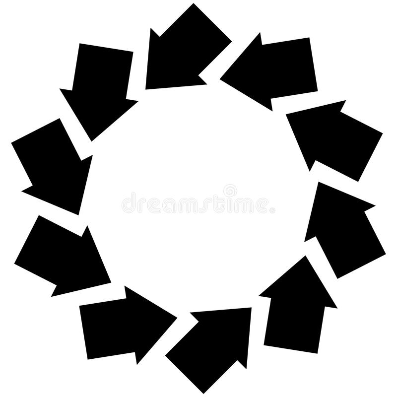 Concentric arrows symbol to illustrate rotation, gyration, torsion, turning concepts stock illustration