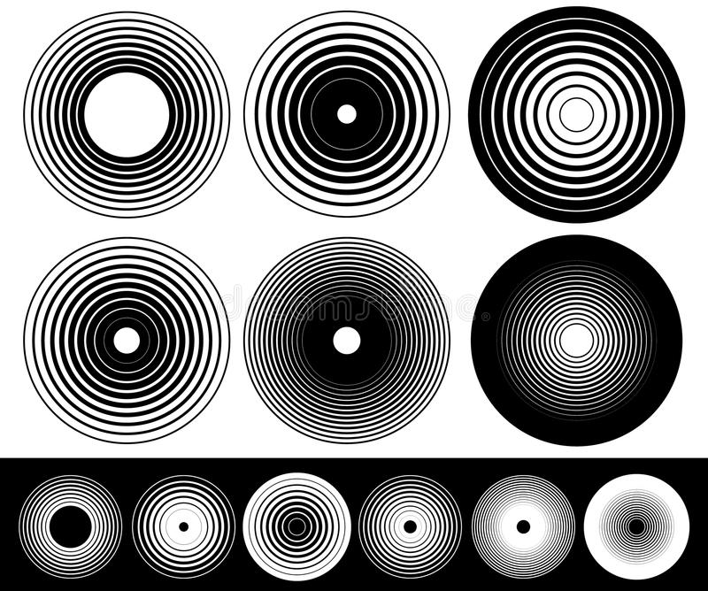 Concentric circle elements. Set of 6 variation. Royalty free vector illustration stock illustration