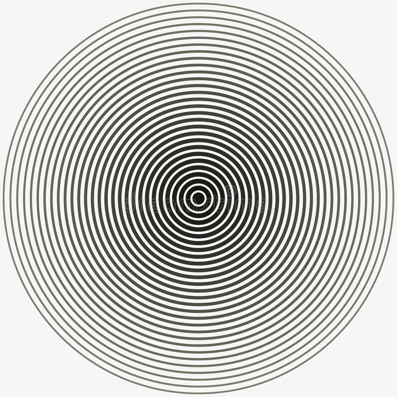 Concentric circle. Illustration for sound wave. Black and white color ring. illustration royalty free stock photography