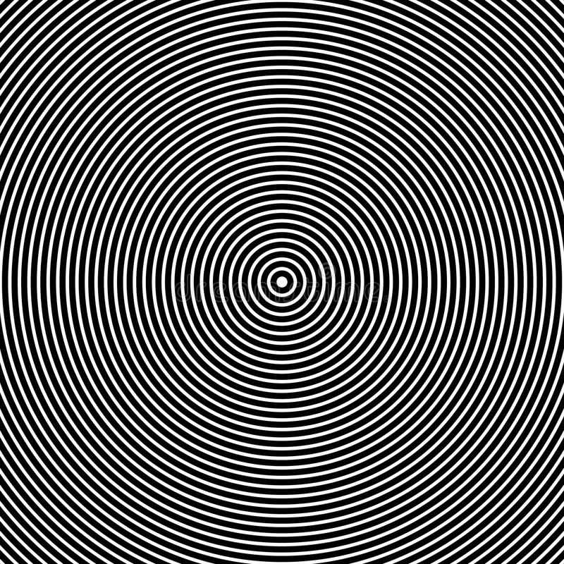 Concentric Circles. Abstract Black and White Graphics vector illustration