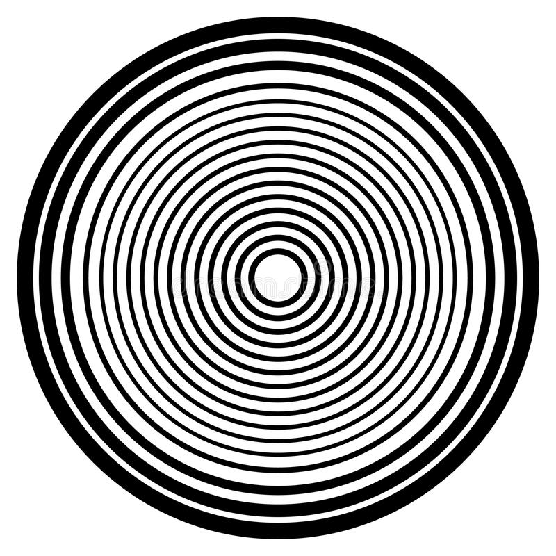 Concentric circles, concentric rings circular pattern. Abstract royalty free illustration
