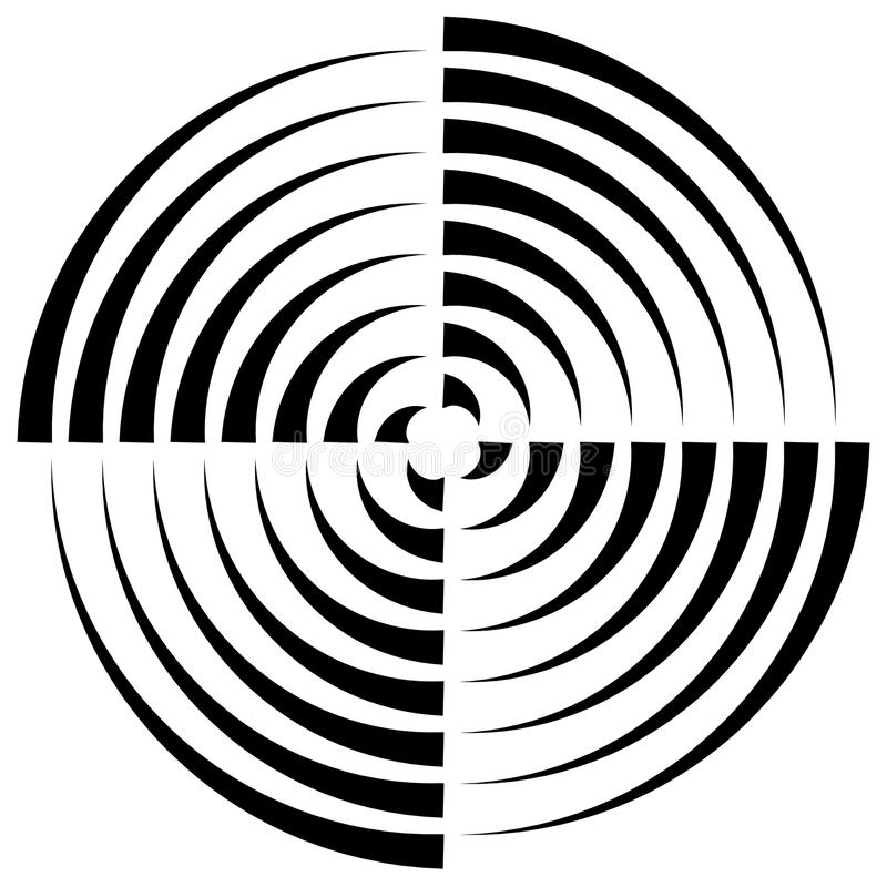 Concentric circles cut in quarter - abstract monochrome radiat. Ing element - Royalty free vector illustration royalty free illustration