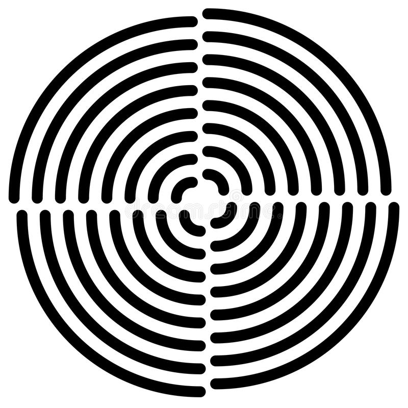Concentric circles cut in quarter - abstract monochrome radiat. Ing element - Royalty free vector illustration vector illustration