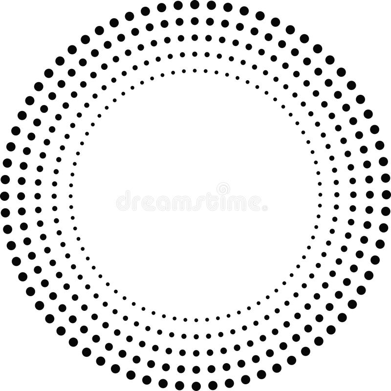 Concentric Circles . Dots in Circular Form. Vector stock illustration