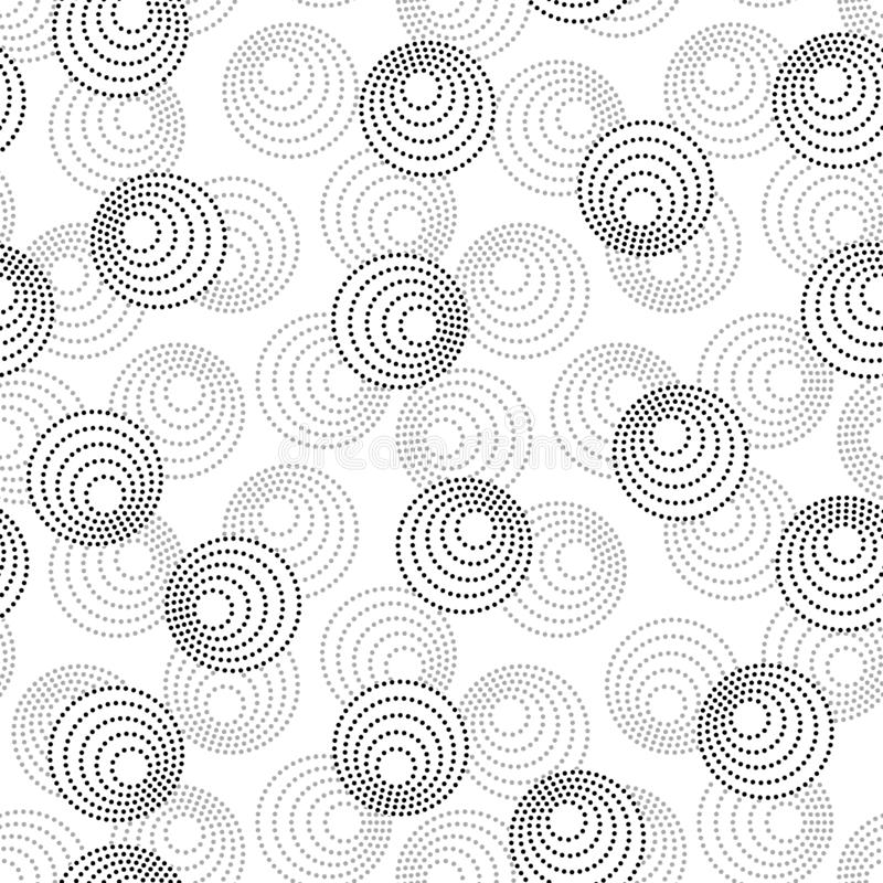 Concentric circles with dotted outline in two colors. Seamless geometric pattern on white background. Vector colorless image. Black and gray concentric circles royalty free illustration