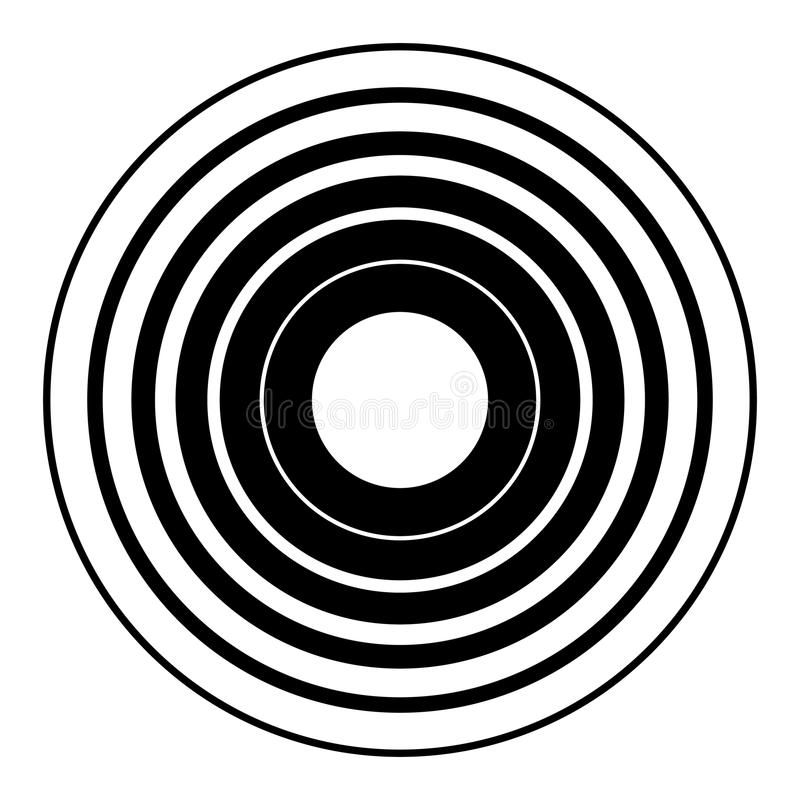 Concentric circles geometric element. Radial, radiating circular stock illustration