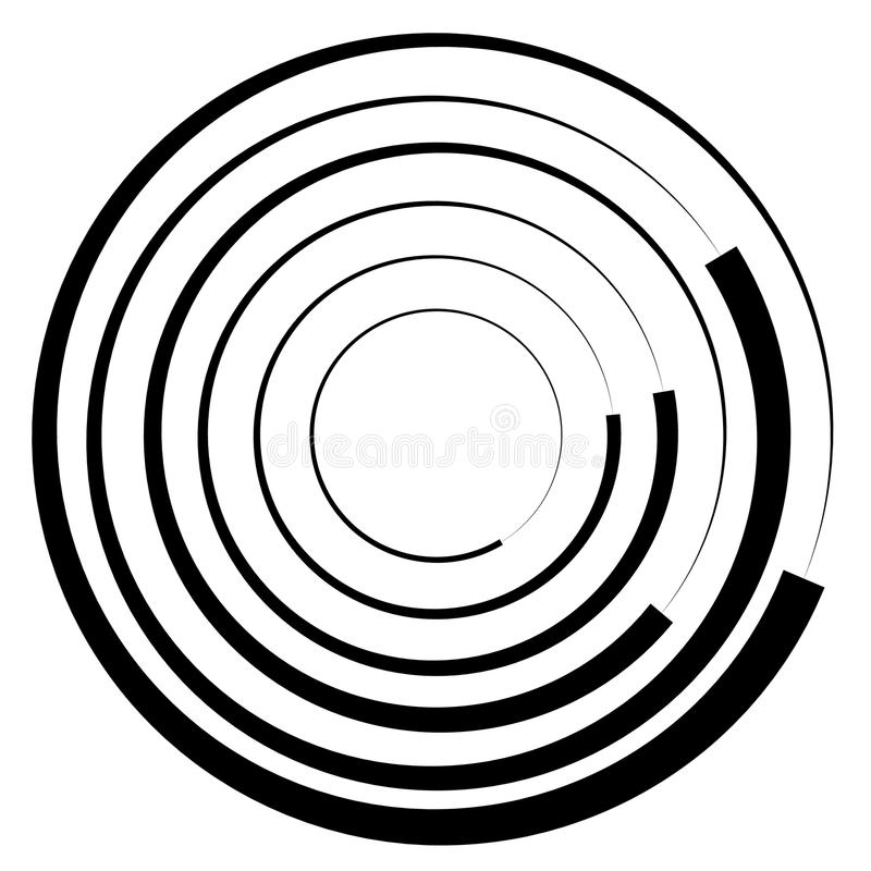 Concentric circles geometric element. Radial, radiating circular royalty free illustration