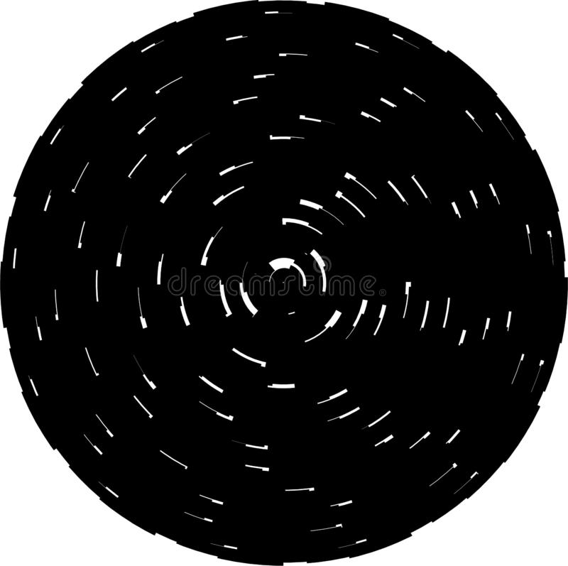 Concentric circles geometric vector element. Radial, radiating circular graphi royalty free illustration