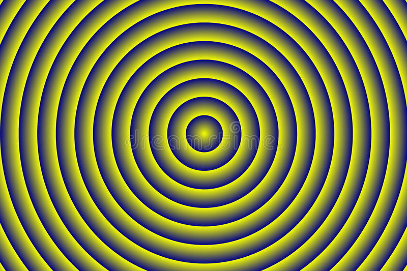 Concentric circles. Illustration of dark blue and yellow concentric circles stock illustration