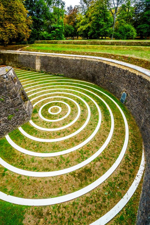 Concentric circles in the Lambert Redoubt ruins. royalty free stock images