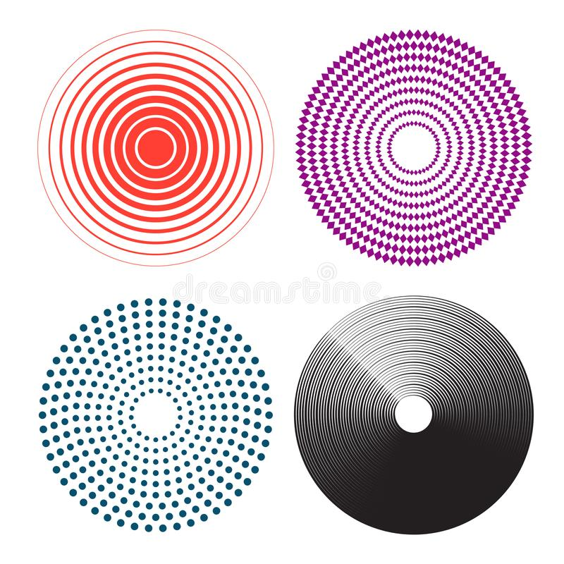Concentric circles, radial lines pattern. Pain circle vector illustration