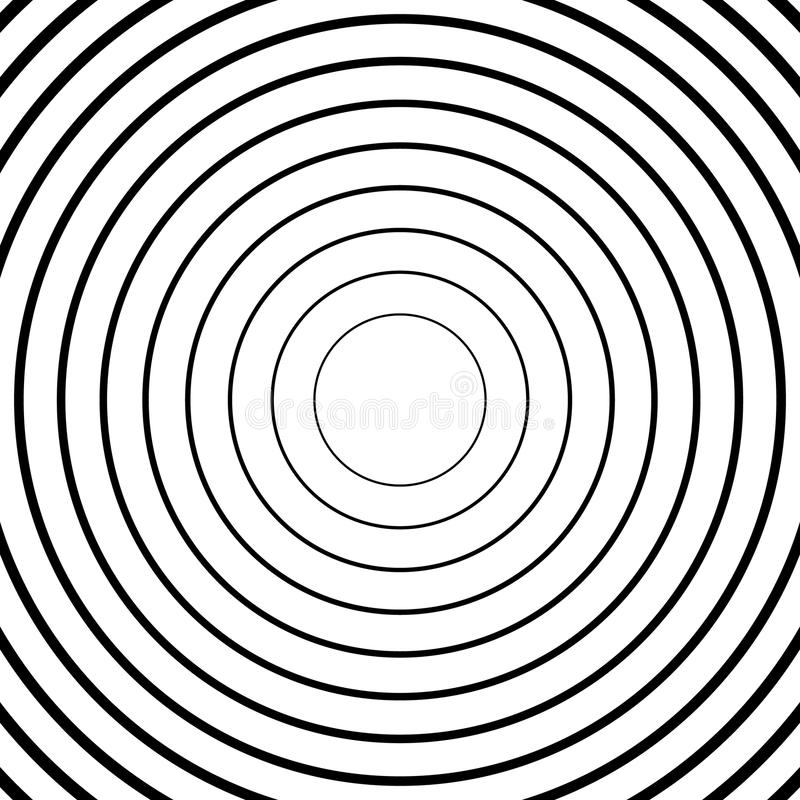 Concentric circles, radial lines patterns. Monochrome abstract royalty free illustration