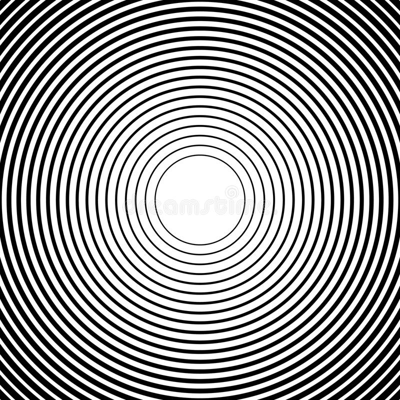 Concentric circles, radial lines patterns. Monochrome abstract vector illustration