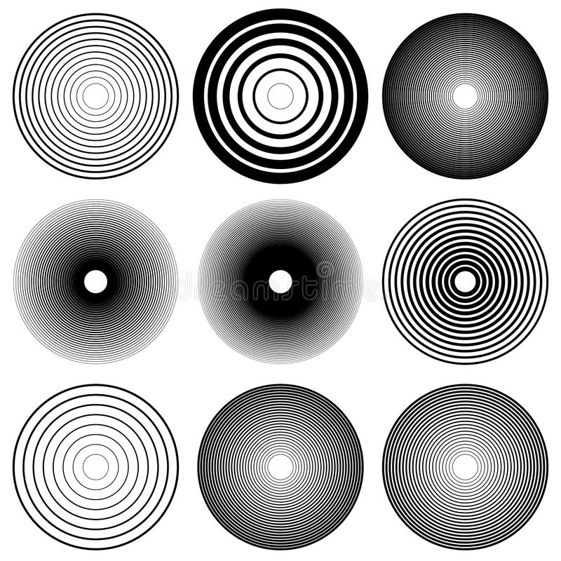 Concentric circles, radial lines patterns. Monochrome abstract stock illustration