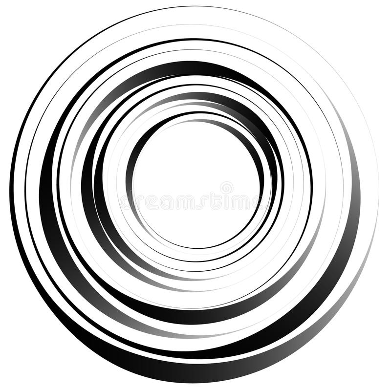 Concentric circles. Radiating, radial circles monochrome abstrac. T element. Rotating, spiral, vortex element. Spirally circular shape. - Royalty free vector stock illustration