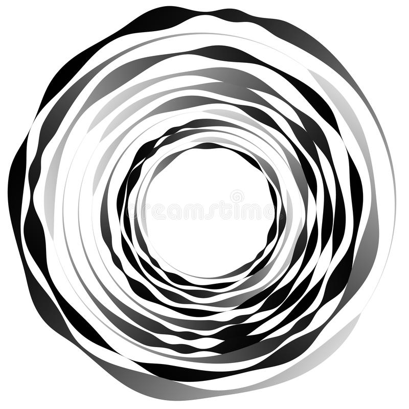 Concentric circles. Radiating, radial circles monochrome abstrac. T element. Rotating, spiral, vortex element. Spirally circular shape. - Royalty free vector royalty free illustration