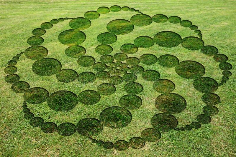 Concentric circles spirals encrypted symbols fake crop circle meadow. Concentric circles spirals encrypted symbols fake crop circle in the meadow royalty free illustration