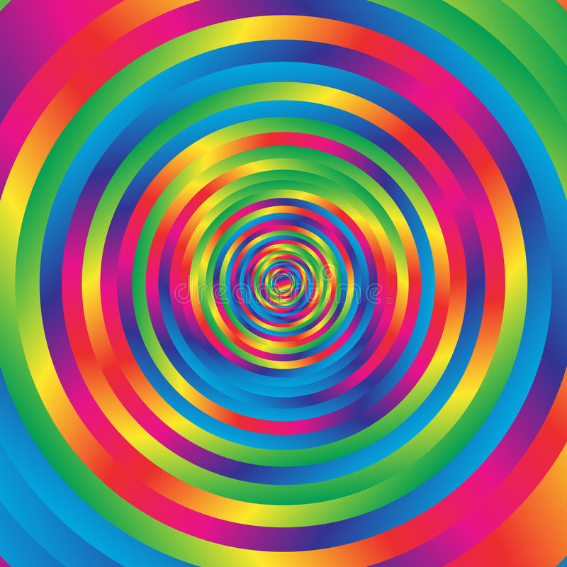 Concentric colorful spiral w random circles. Abstract circular p stock illustration