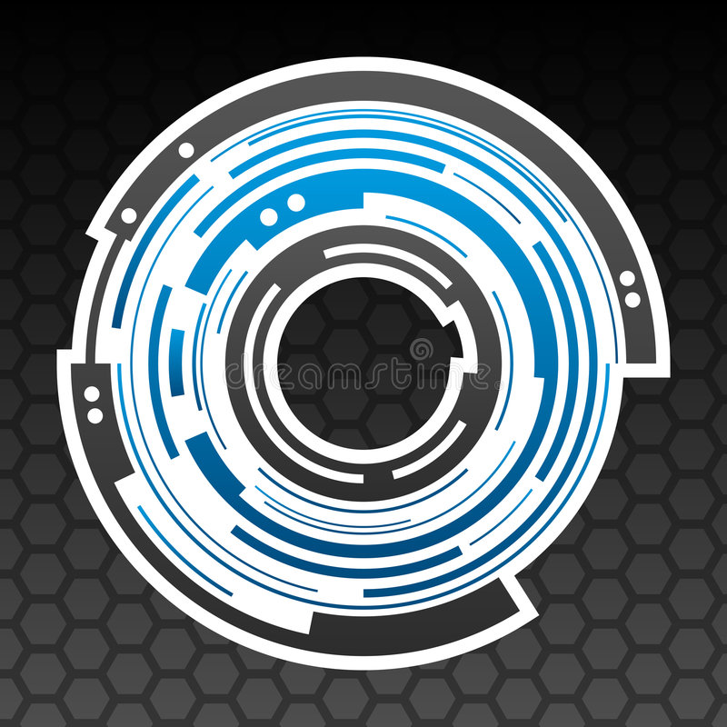 Concentric gear shape icon stock illustration