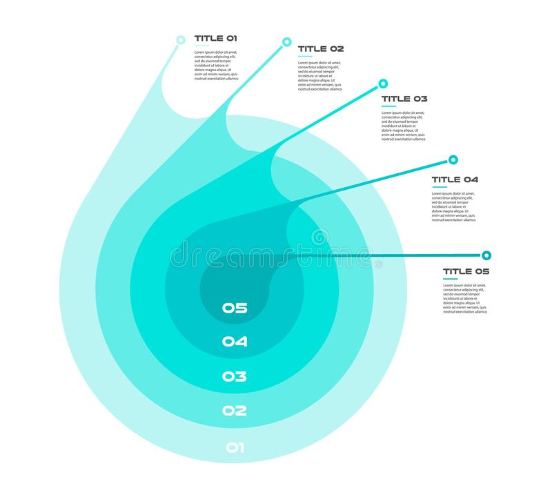 Concentric infographics step by step in a series of circle. Element of chart, graph, diagram with 5 options - 20, 40, 60. 80, 100 percent, parts processes royalty free illustration