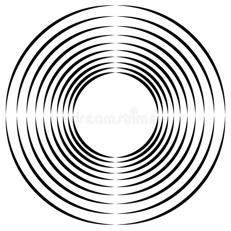 Concentric, radial circles circular element. abstract black and royalty free illustration