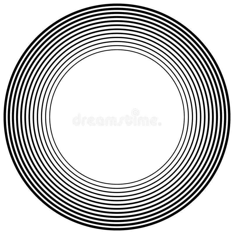 Concentric, radial circles pattern. Radiating, circular spiral, vortex lines. Rays, beams, signal burst design. Merging rippled. Lines. Converging rings vector illustration