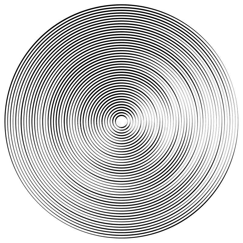 Concentric, radial circles pattern. Radiating, circular spiral, vortex lines. Rays, beams, signal burst design. Merging rippled. Lines. Converging rings stock illustration