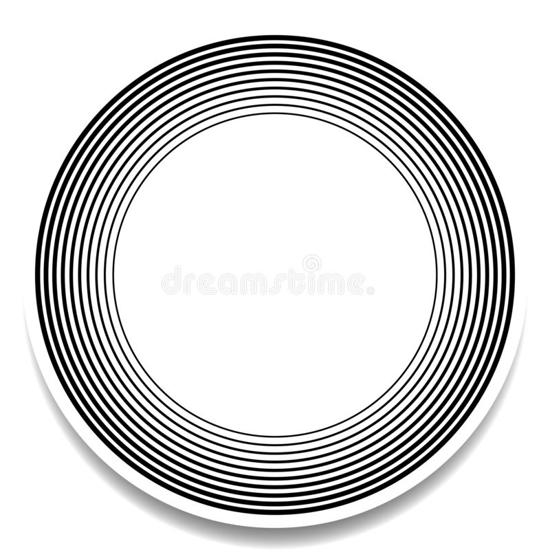 Concentric, radial circles pattern. Radiating, circular spiral, vortex lines. Rays, beams, signal burst design. Merging rippled. Lines. Converging rings royalty free illustration