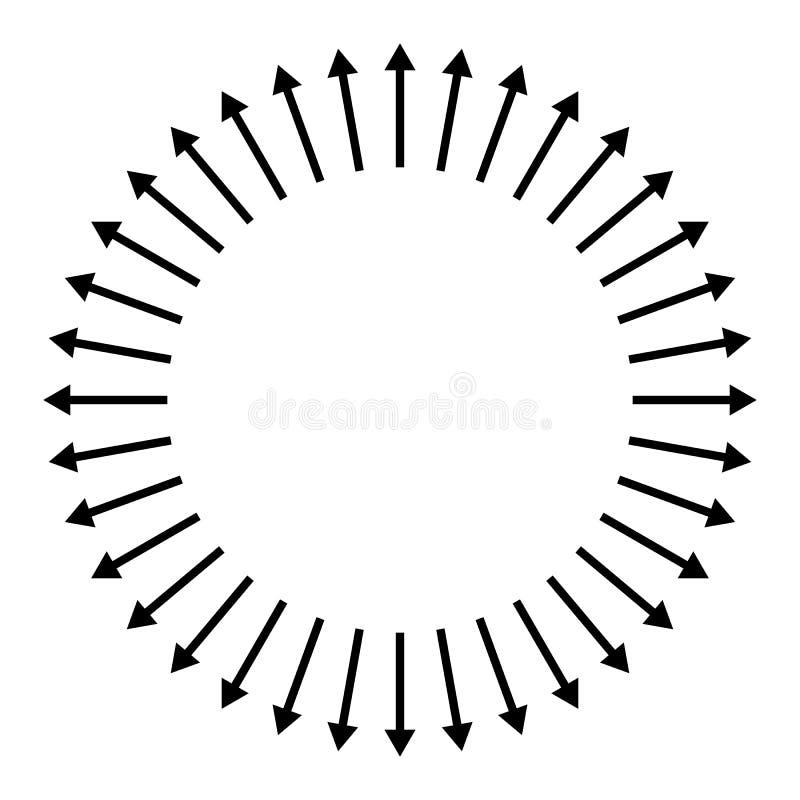 Concentric, radial, radiating arrows. Circular arrow element vector illustration