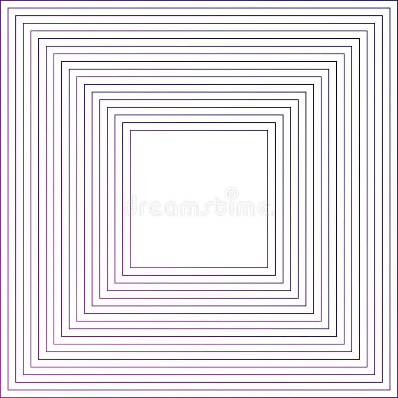 Concentric squares ,concentric abstract geometric pattern. Radial, square linear texture. Space in the center for your text or royalty free illustration