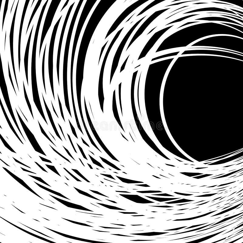 Concentrique - cercles convergents Vortex abstrait, grap se développant en spirales illustration de vecteur