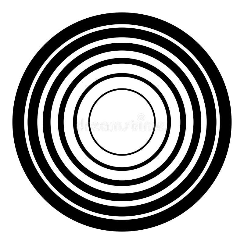 Concentrisch cirkels geometrisch element Radiaal, uitstralend rondschrijven royalty-vrije illustratie