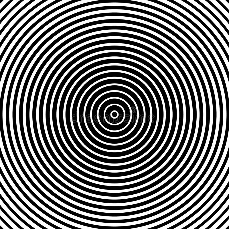 Concentrisch cirkelspatroon Abstracte zwart-wit-geometrische illust royalty-vrije illustratie