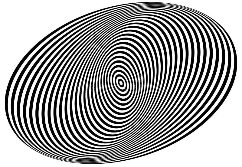 Concentrische cirkels die een spiraal vormen Ovalen, ellipsenpatroon stock illustratie