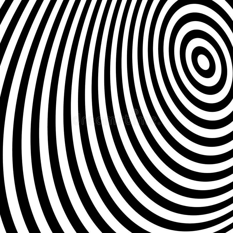Concentrische cirkels die een spiraal vormen Ovalen, ellipsenpatroon vector illustratie