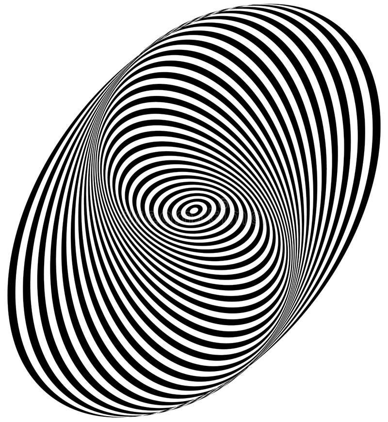 Concentrische cirkels die een spiraal vormen Ovalen, ellipsenpatroon royalty-vrije illustratie