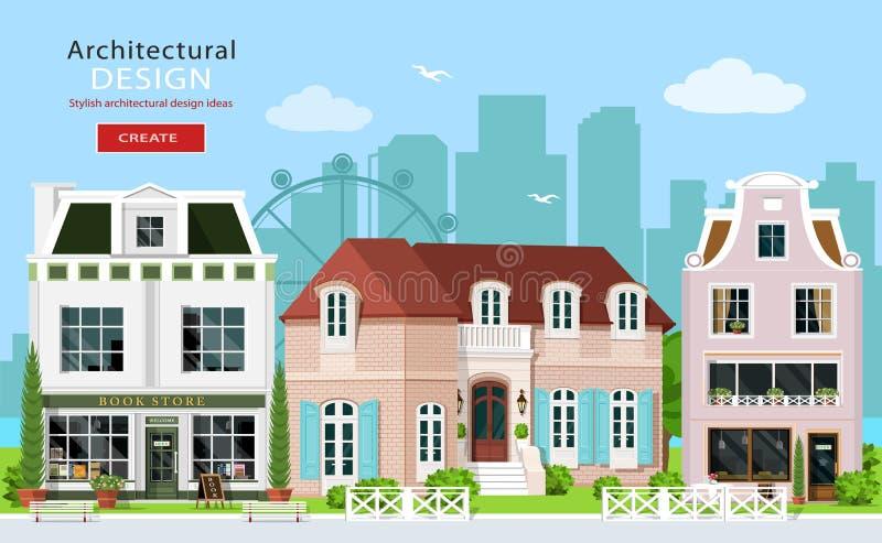 Concepção arquitetónica gráfica moderna ilustração do vetor