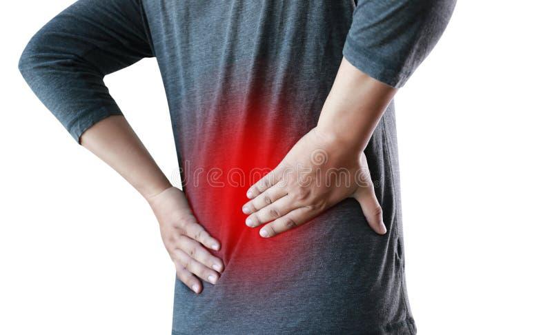 concep облегчения боли боли в спине чувства молодого человека страдая более низкое стоковое фото