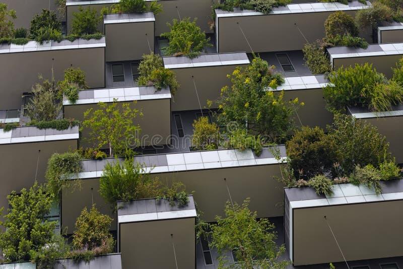 Concep futuristico verde del grattacielo, dell'ambiente e di architettura fotografia stock
